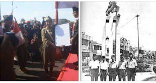 Para pelaku pertempuran front Alun alun Contong, anggota PRI 40, berfoto didepan monumen dalam sebuah reuni.