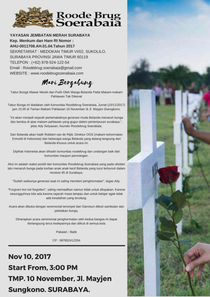 [POSTER] Tabur Bunga Mawar Merah dan Putih Oleh Warga Belanda Pada Makam-makam Pahlawan Tak Dikenal